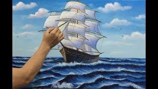 tranh thuận buồm xuôi gió sơn dầu