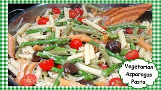 How To Make Vegetarian Asparagus Pasta Recipe with Mushrooms Tomatoes