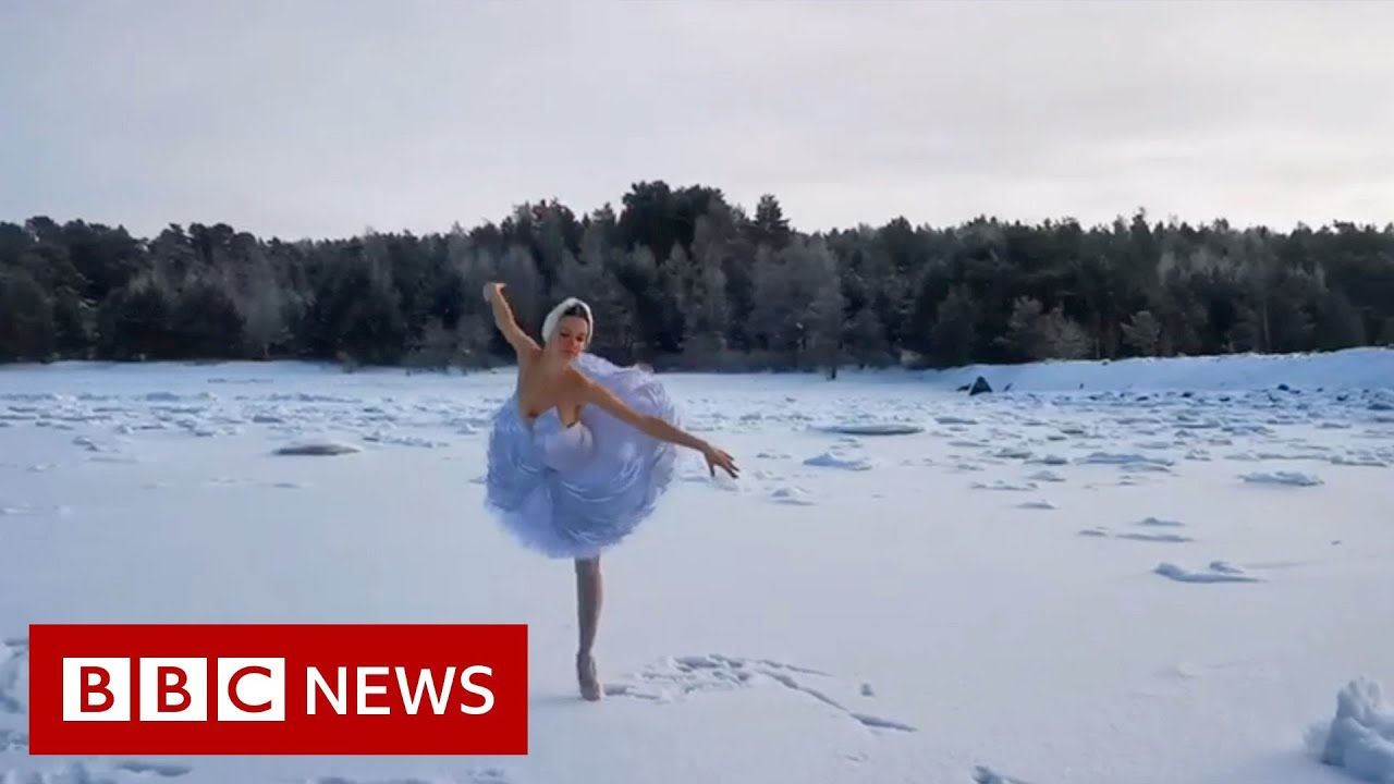 Russian ballerina dances Swan Lake on ice in protest - BBC News