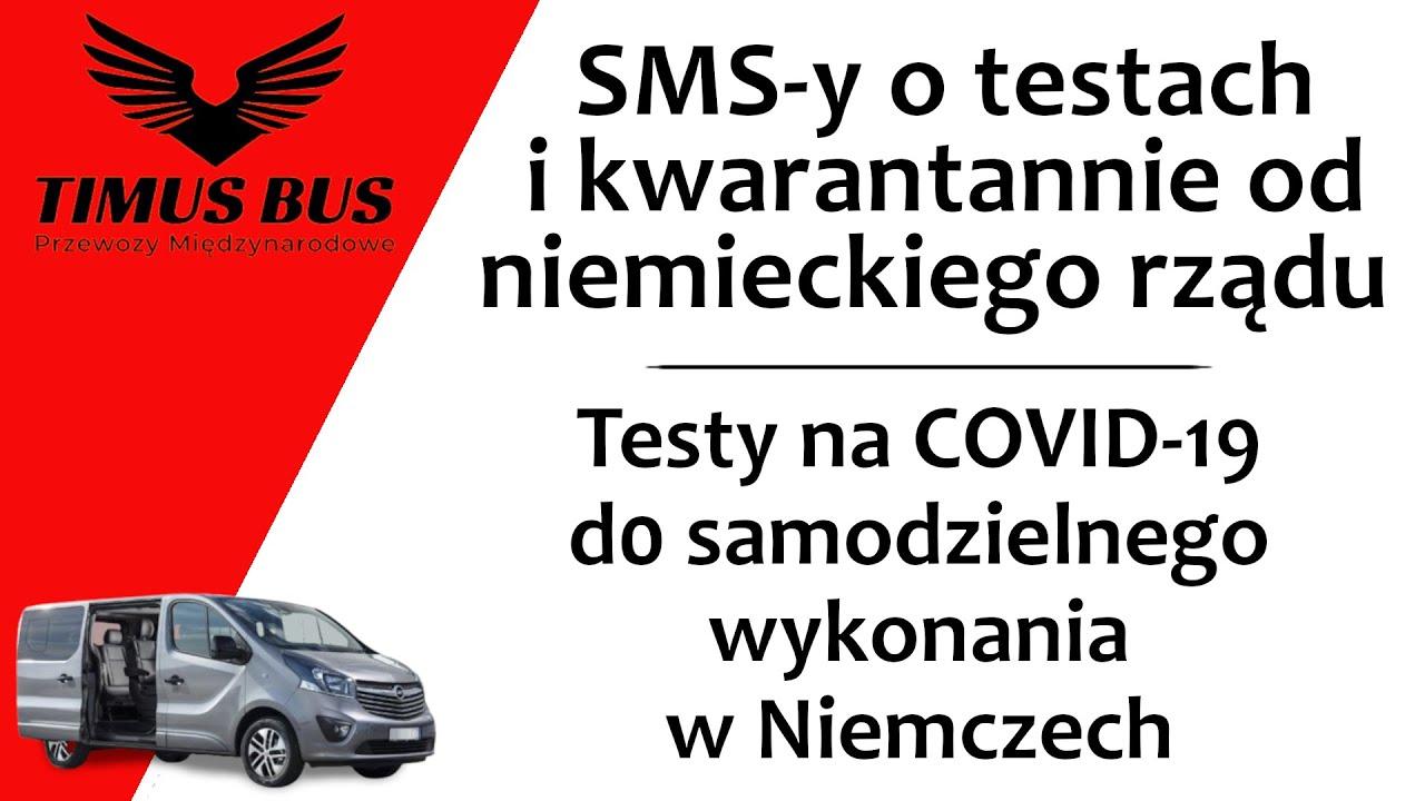 SMS-y o kwarantannie i testach od niemieckiego rządu • Testy do samodzielnego wykonania   Timus Bus