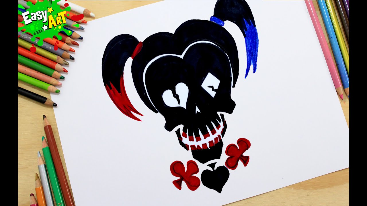 C mo dibujar el logo de harley quinn how to draw the logo for Imagenes harley quinn