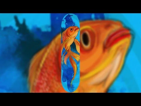 Gold Fish Photoshop Speed Art Skateboard Deck Design Wacom Cintiq