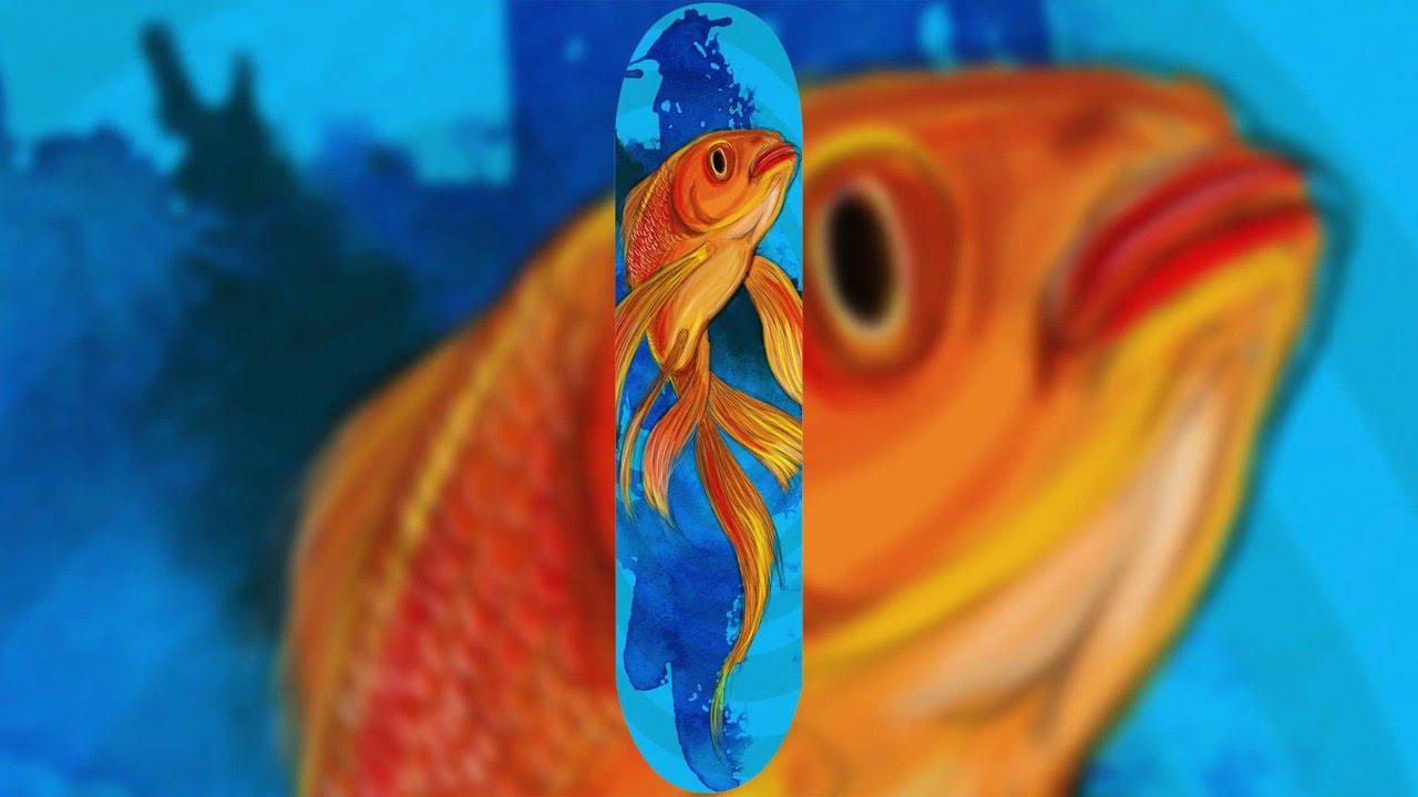 gold fish photoshop speed art skateboard deck design wacom cintiq youtube