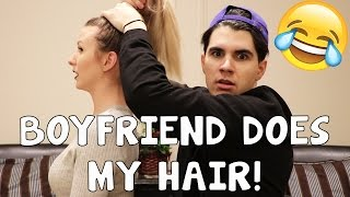 One of Kristen McGowan's most viewed videos: BOYFRIEND DOES MY HAIR!