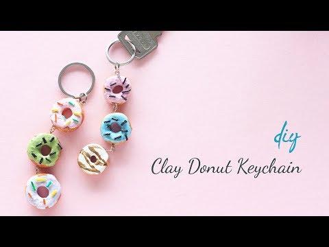DIY Clay Donut Keychain   Clay keychain