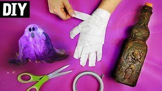 DIYs Halloween 👻 🎃 Ideias para decorar sua Festa | Fantasminhas, Mão da Múmia e Garrafa do Terror