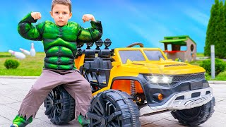 Artem and superheroes | Children's stories with bunny and toys