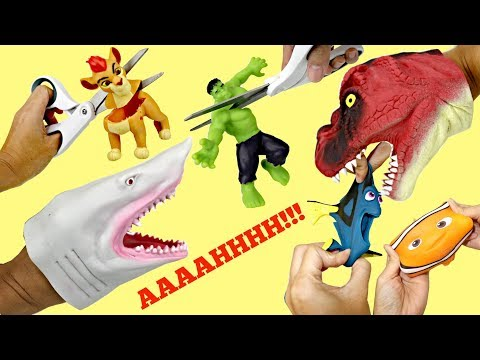 Squishy Toys with Lion Guard, Avengers, Sharks & Dinosaur Hand Puppets