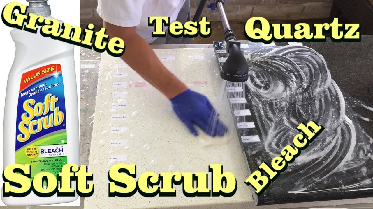 Granite Quartz Countertop Stain Removal Using Soft Scrub With