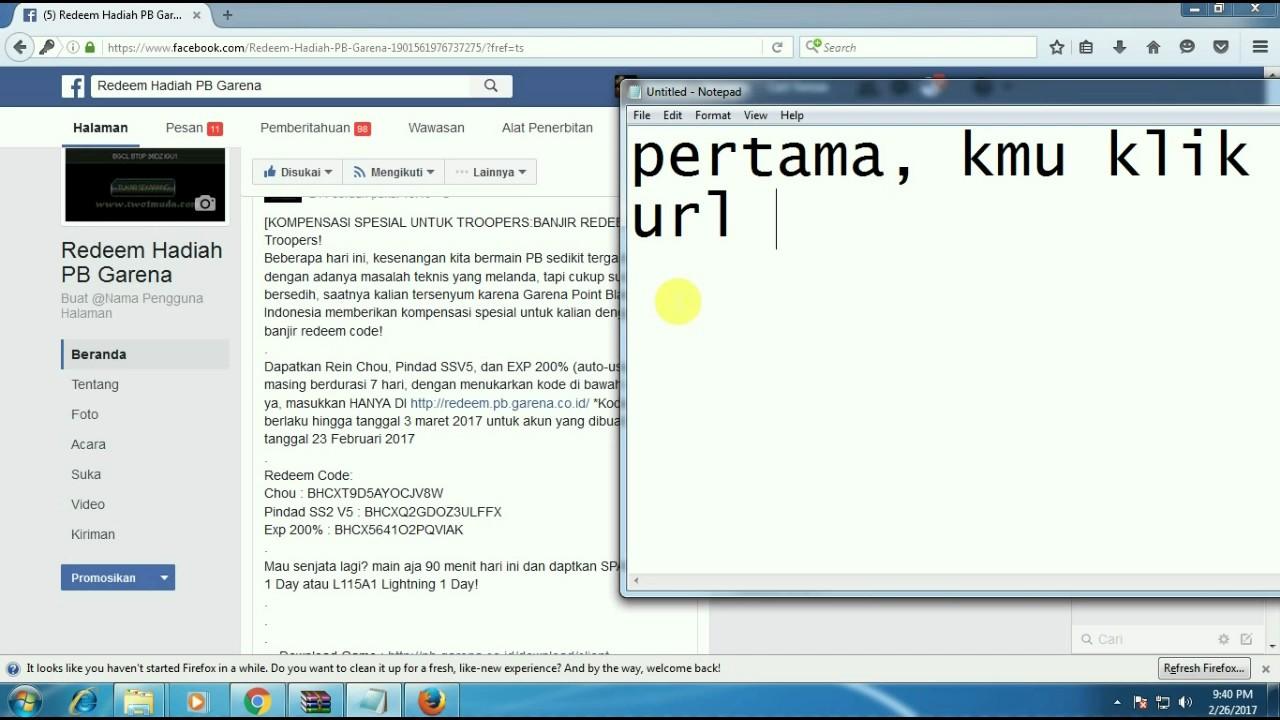 Cara Redeem code hadiah PB Garena - YouTube