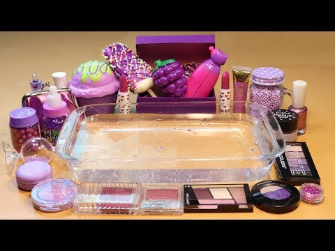 "Theme Series #20 ""PurpleFood"" Mixing Makeup And glitter Into Clear Slime! ""purpleFood Silme"""