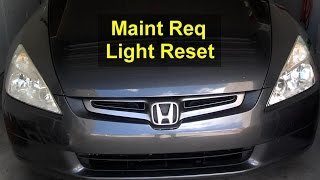 Maintenance required service light reset, Honda - VOTD(This video will show you how to reset the maintenance required light in a 2005 Honda Accord. I'm sure this will work with other Honda cars., 2014-11-09T15:00:11.000Z)