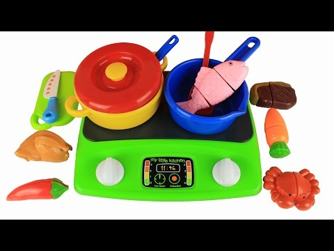 Thumbnail: Toy kitchen cooking velcro food steak fish chilli chicken crab carrot ASMR