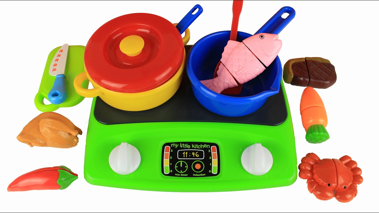 Play Kitchen Food toy kitchen cooking velcro food steak fish chilli chicken crab