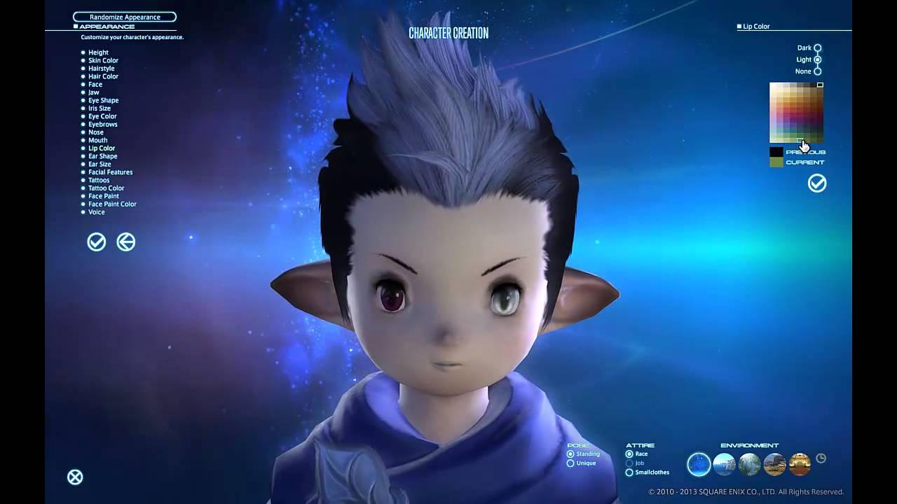 FFXIV ARR Male Lalafell TaruTaru PlainsfolkDunesfolk Character Creator YouTube