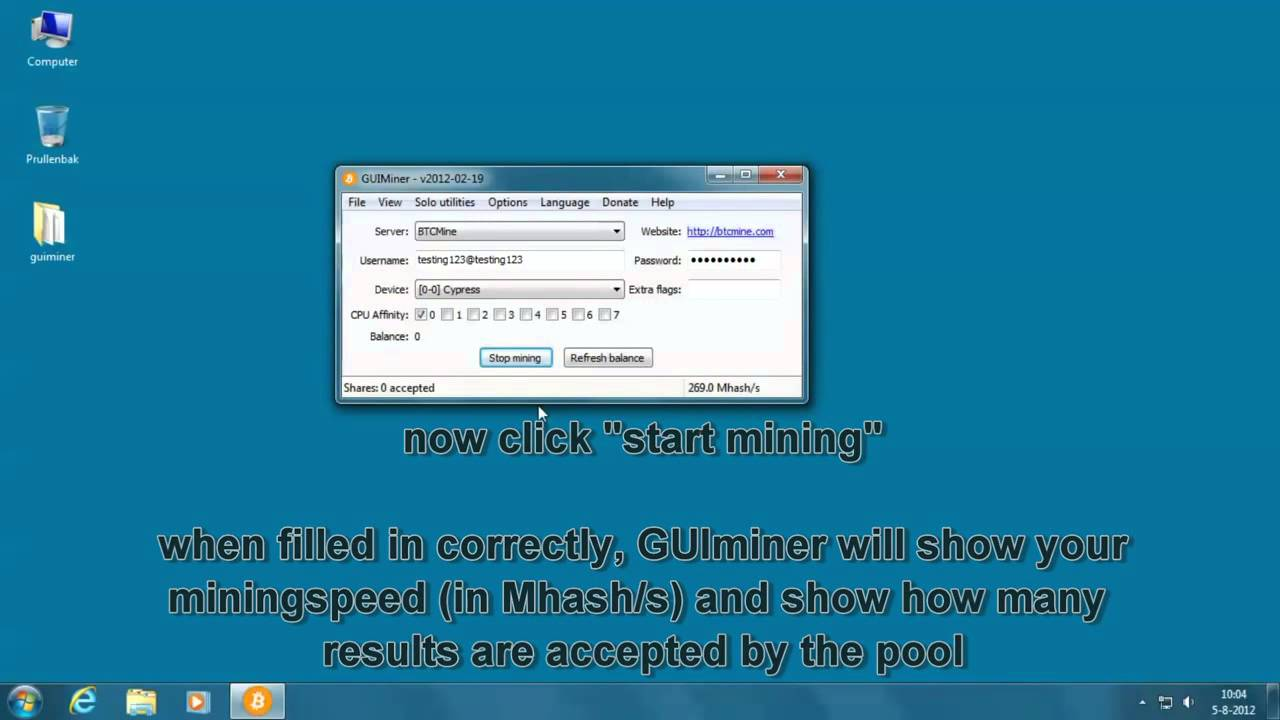 how to set up bitcoin mining on pc