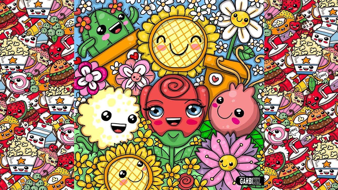 Wallpaper Doodle Cute How To Draw Party Kawaii Flowers By Garbi Kw Youtube