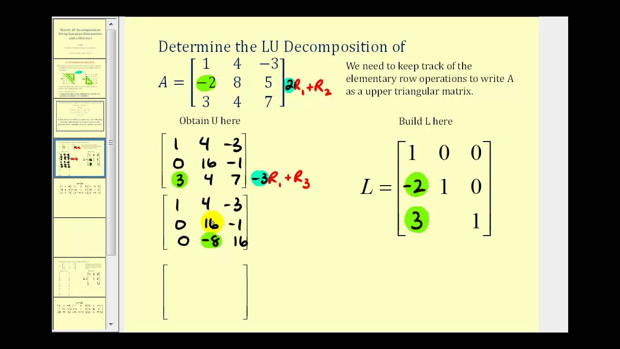 LU Decomposition - Shortcut Method