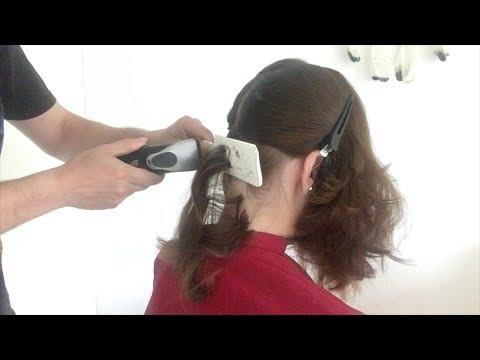 A bob haircut with shaved undercut