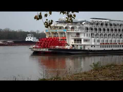 American Queen & Coal Barge on the Mississippi