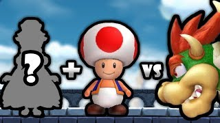 Pink Gold Peachette & Red Toad Vs All Bosses + Final Boss In New Super Mario Bros U Deluxe