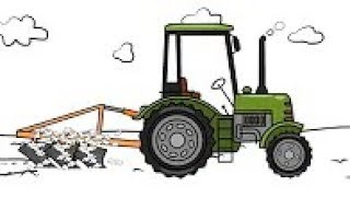 The Tractors Drawing - Plowing Field | Animation For Kids