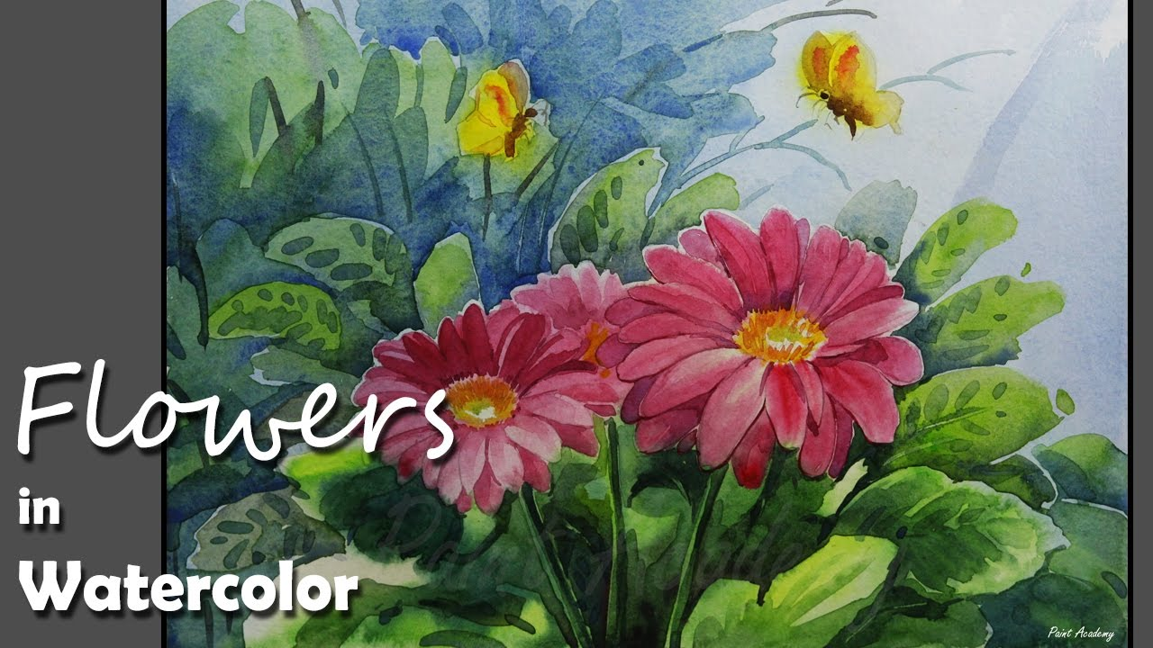 Watercolor Painting | Flowers | step by step - YouTube