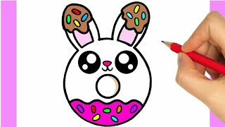 HOW TO DRAW A CUTE DONUT EASY STEP BY STEP - DRAWING A DONUT KAWAII