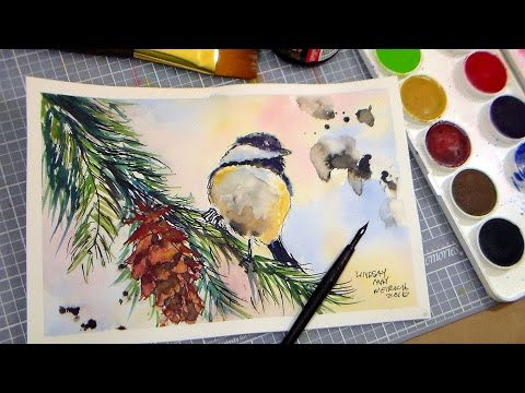 How to Paint a Chickadee in Pen & Ink and Watercolor FULL TUTORIAL // Grumbacher Watercolor Review