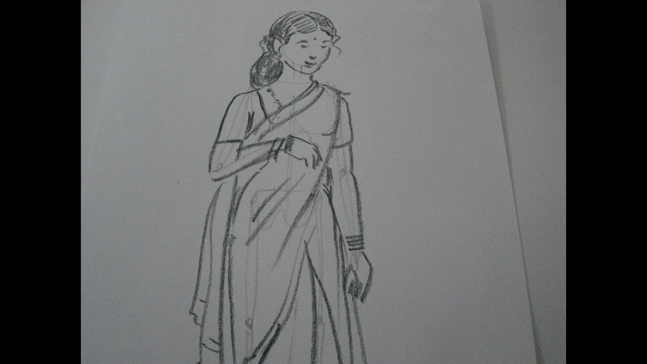 Drawing tutorialhow to draw a woman in saree
