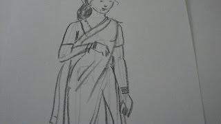 Drawing Tutorial,how to draw a woman in saree