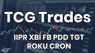 TCG Trades - IIPR XBI FB PDD TGT ROKU CRON 08/21/2019 by ChartGuys.com
