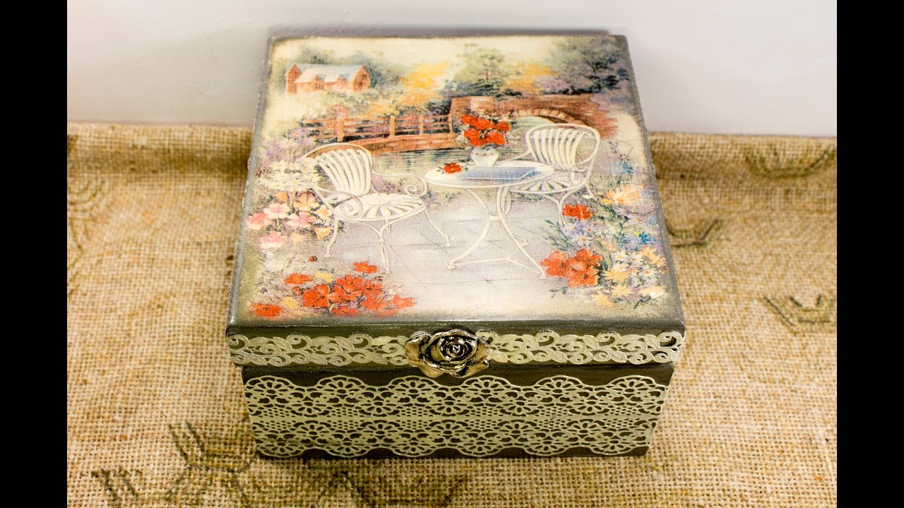 62 lesson decoupage on wood tutorial , decoupage of wooden box for  beginners