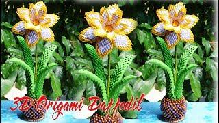 How To Make 3D Origami Daffodil Flower | DIY Paper Daffodil Fl…
