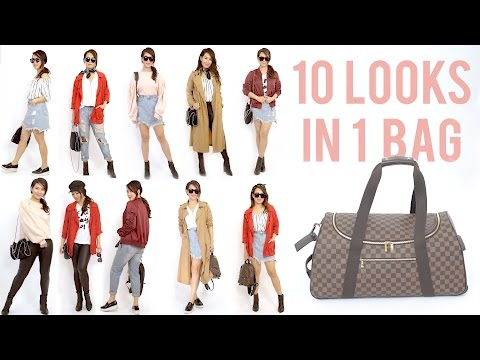 10 OUTFIT IDEAS in a Travel Carry On Bag | Style Mix + Match | ANN LE