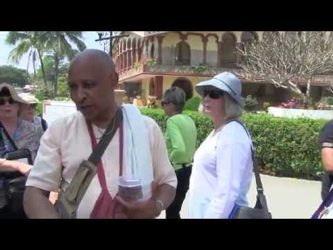 A West Bengal Cruise Ship pays a visit to Mayapur with foreign tourists.