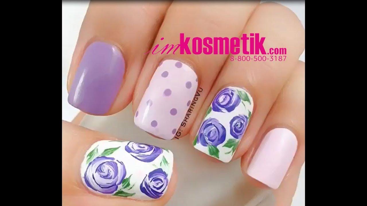 Розы на ногтях. Как рисовать трафаретные, акриловые, объемные розы, розы для маникюра на ногтях акриловой краской, гель лаком