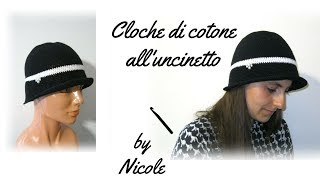 Cappello cloche all uncinetto- cappello estivo all uncinetto- crochet cloche  hat 544b7e139a69