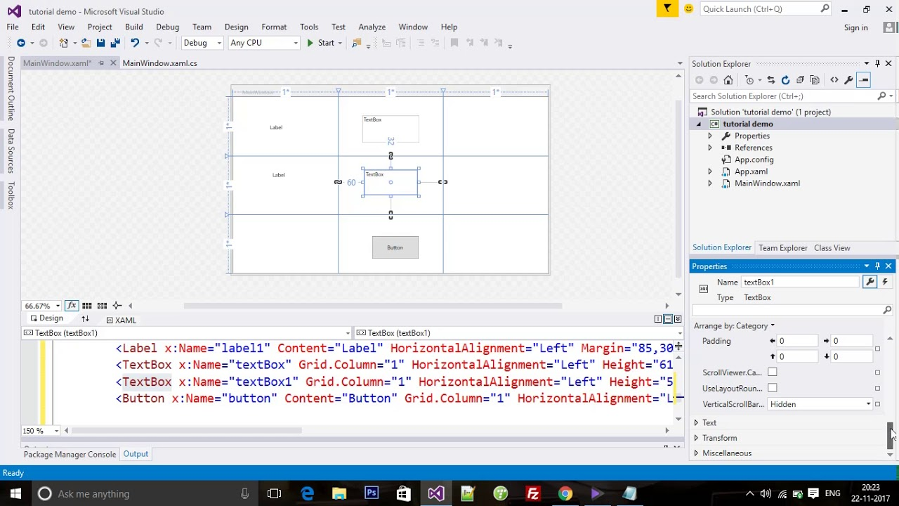 wpf in C# Grid Row & Column Definition