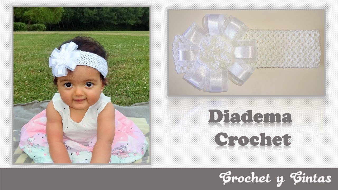 Diadema con moño y cintas tejido en punto red a crochet (ganchillo ...