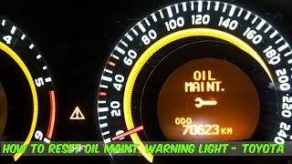 How To Reset The Maintenance Warning Light In A Toyota Corolla  -  DIY