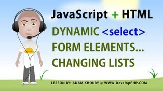 Javascript Form Select Ändern Sie die Optionen Tutorial Dynamische Liste der HTML5-Elemente