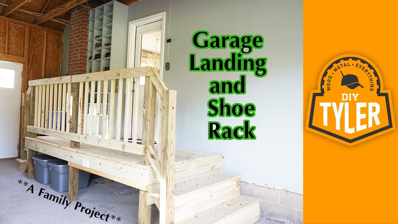 Shoe rack for garage - Garage Landing And Shoe Rack