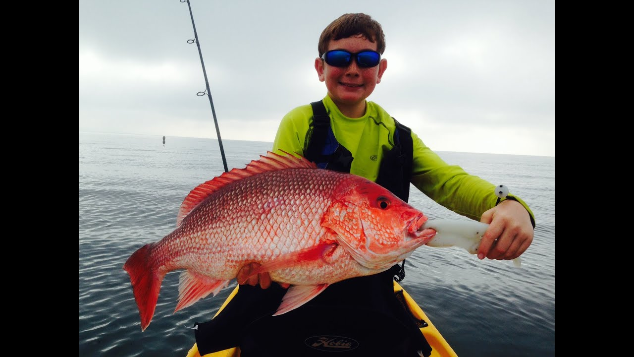 Kayak fishing red snapper destin florida 2014 youtube for Snapper fish florida