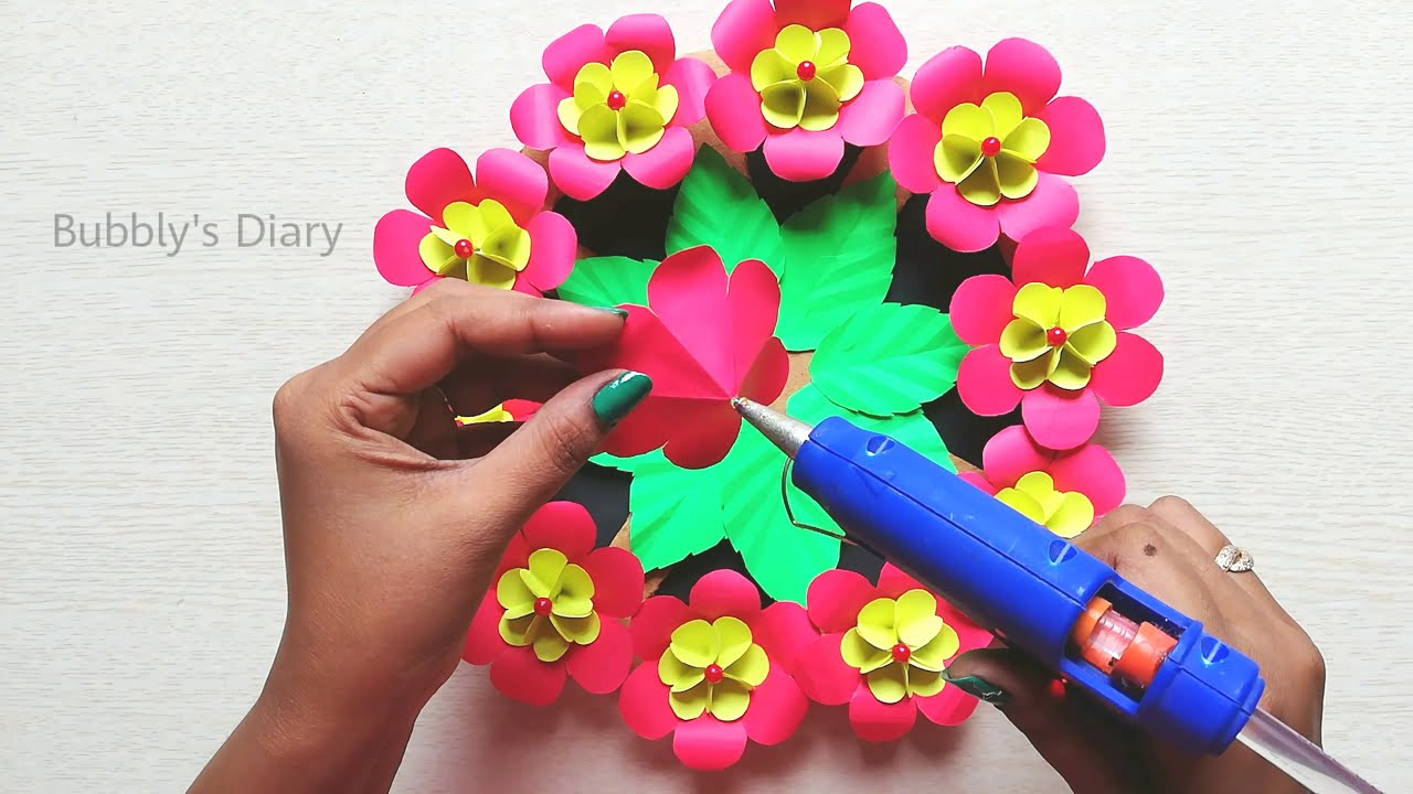 Beautiful Handmade Wall Hanging for Home Decor - Easy Paper Flower Wall Hanging - Paper Wall Decor