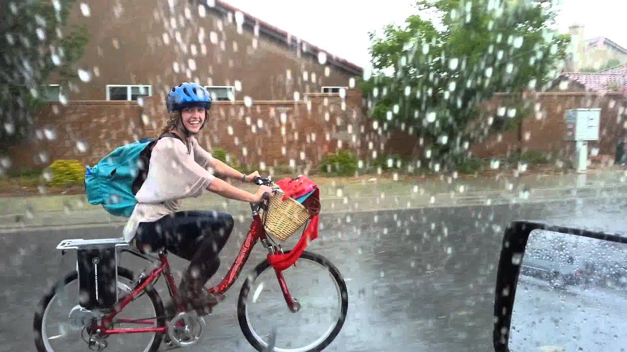 Samanthas Electric Bike Rain Ride Ooops Sorry Kid Youtube