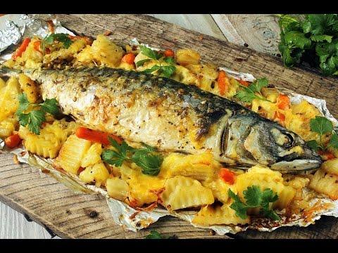 Форель в духовке с овощами