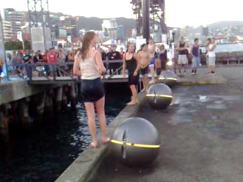 kids jumping in wellington waterfront