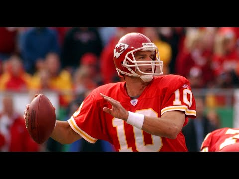 [OC] [Highlight] Today is QB Trent Green's 50th birthday. Green played in the NFL from 1993-2008, most notably with the Rams and Chiefs, made two Pro Bowls, and holds the NFL record for longest TD pass (99 yards). To celebrate, here are the 32 longest TD passes of his career