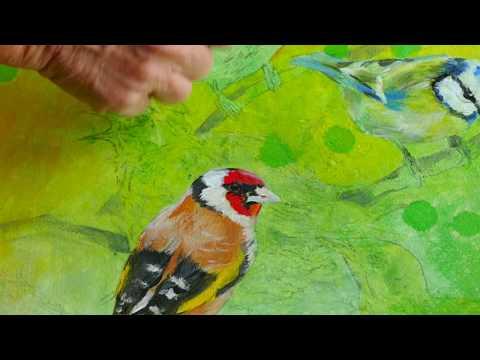 Monika Reiter, Malanleitung, Öl Transfer, Vogel, Schritt für Schritt, Oil Transfer, Tutorial, birds